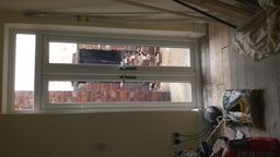 set of french doors installed in place of window