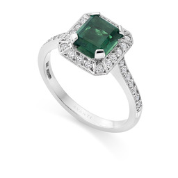 Emerald & diamond cluster deco ring by Avanti