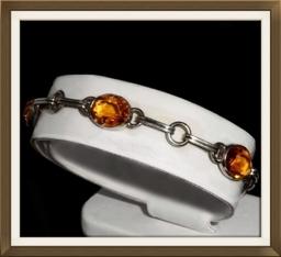 Art Deco Silver Amber Crystal Bracelet