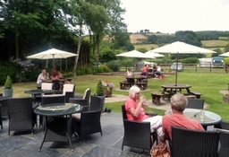 Alfresco dining in our beer garden look out to the Shropshire Hills