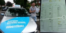 Elephant Driving School Congratulates Risto From Earlsfield South West London, passing his test with zero faults.30
