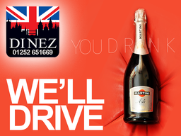 You drink, we drive taxi campaign of Dinez Taxis