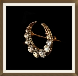 Victorian Gold Crystal Crescent Brooch