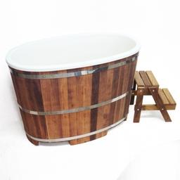 Small wooden sauna tub with acrylic liner Iroko wood