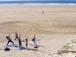 Yoga on the beach at our Cornwall Retreat