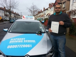 Elephant Driving School congratulates Mr Rauf from Streatham, passing his test at Morden Test Center.