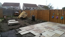 sandstone patio at back garden by Aspects of Lands