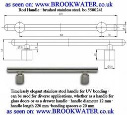 UV bonded Stainless Steel glass door handle BO5500241