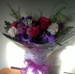 Angelic Flowers Aqua Box Vanda Orchids Cerise Roses Chincherichee