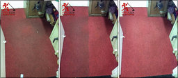 Very dirty red carpet before after steam cleaning