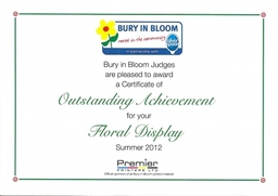 Bury In Bloom Certificate