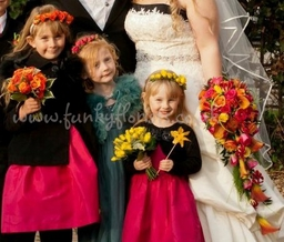 hot colour shower bouquet with tussie mussies & Alice bands