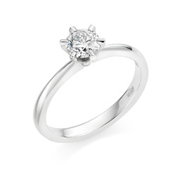 six claw diamond solitaire engagement ring
