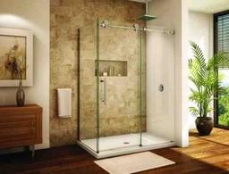 Frameless shower sliding door