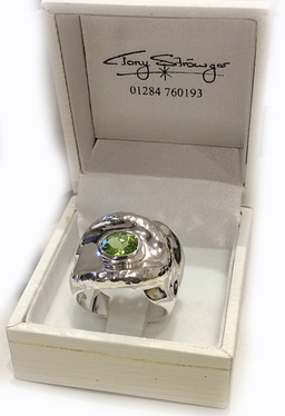 Hand carved Silver Peridot Ring.