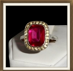 Art Deco Silver Pink White Crystal Ring