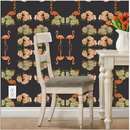 luxury removable peonies &flamingo wallpaper