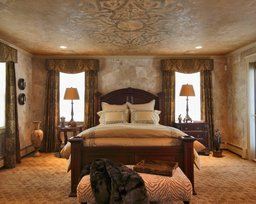 Walls and ceiling in man's bedroom