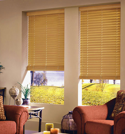 light oak wooden venetian blinds with cords