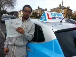 Elephant Driving School congratulates Mr Jay from Battersea, passing his test.