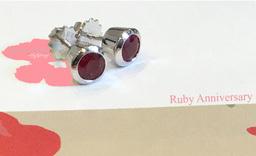 Hand set Gemstone Ruby Earrings.