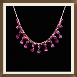 Art Deco Silver Purple Crystal Drop Necklace