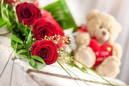 Three Roses with Teddy