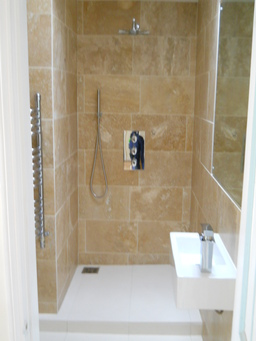 Marble walkin shower