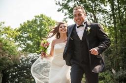 bride and groom fun shot
