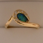 Handmade Opal and Diamond 18ct gold ring Designed and Handmade by Phillip Godfrey