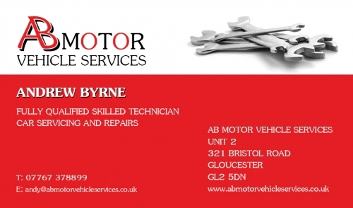 Ab motor vehicle services in unit 2 321 bristol road gloucester ab business card reheart Image collections