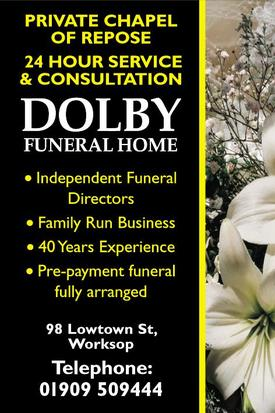 dolby funeral services ltd 98 low town street worksop