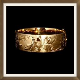 Vintage Gold On Silver Engraved Bangle