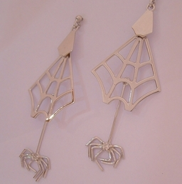Spider and Web Earrings set with Diamonds in White Gold ,mobile so that they swing, Designed and Handmade by Phillip Godfrey
