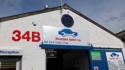 Humber Autos frontage. We're located on the left as you enter Bilton Industrial Estate.