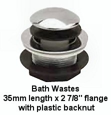 Bath Wastes 35mm Length X 2 7 8in Flange With Plastic Backnut