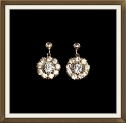 Art Deco Silver Crystal Flower Drop Earrings