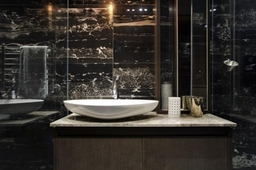 Elegant Wash Area In The Bathroom Supplemented By Wooden Bathroom Cabinet White Wash Basin Modern Faucet And A Mirror