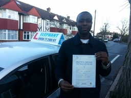 Elephant Driving School congratulates Mr Suleman, from Tooting, passing his test at Mitcham Test Center.