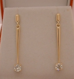 Handmade Diamond and yellow gold earrings ,Designed and Handmade by Phillip godfrey