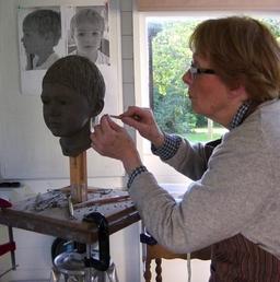 Modelling clay head .