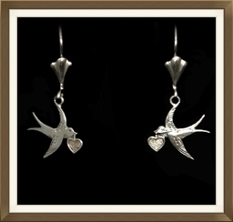 Art Deco Silver Swallow And Heart Earrings