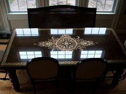 Gold leafed glass table topper