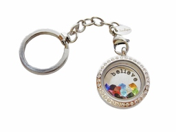 Keyring with backplate and floating charms