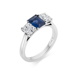 Sapphire & diamond three stone platinum ring