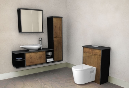 Handleless Bathroom Furniture Sperrin Scoop In Troscan Oak