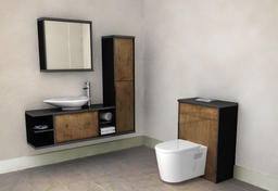 Handleless bathroom furniture - Sperrin (Scoop) in Troscan Oak
