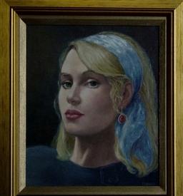 Portrait in oils.