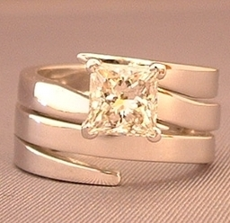 Iterlocking Wedding and Engagement ring designed and handmade by Phillip Godfrey available to order in any precious metal