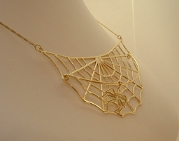 Spider Web necklet with sliding Diamond set Spider, Designed and Handmade by Phillip Godfrey